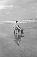 Mahatma Gandhi with his son Devdas at Juhu Beach, Mumbai, Maharashtra, India, May 1944