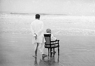 Mahatma Gandhi with his son Devdas at Juhu Beach, Mumbai, Maharashtra, India, May 1944 - MODEL RELEASE NOT AVAILABLE