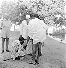 Mahatma Gandhi talking to a blind villager in Bihar, India, March 1947 - MODEL RELEASE NOT AVAILABLE