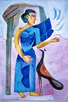Painting of woman with peacock