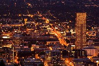 Downtown Portland at night, Portland, Oregon, USA