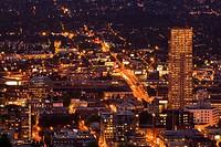 Downtown Portland at night, Portland, Oregon, USA