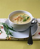 Asparagus soup with salmon trout and tarragon