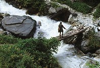 man crossing wooden pool over river , harkidoon , garhwal , himalaya trek , india