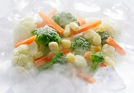 Frozen mixed vegetables in mist