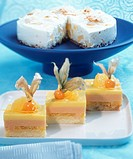 Tequila sunrise slices and coconut and banana cake