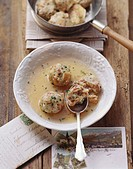 Bacon dumpling soup from S  Tyrol
