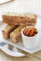 Duck terrine with green pepper and onion chutney