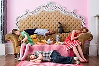 Children sleeping at tea party