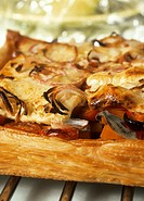 Pumpkin and feta puff pastry tart