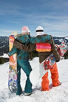 Back view of women with snowboards