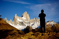 Tourist taking a picture at the Fitz Roy. Argentina