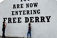 The Free Derry Corner. Bogside. City of Derry. Ulster. Northern Ireland.
