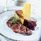 Roast duck breast with red cabbage