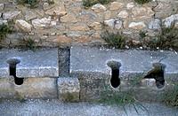 Archaeological site of Philippi, ancient Roman market  Kavala, East Macedonia, Greece