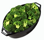 Broccoli in a roasting dish