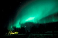 Aurora Borealis over winter scenery  Alaska, United States, North America