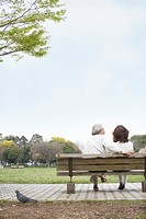 Mature couple sitting on bench in park, rear view