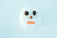 Snowman on the ground, head, view from directly above