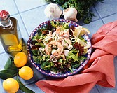 Mesclun Salad Topped with Seafood