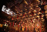 The giant incense coils hanging inside Man Mo Temple, Central Distrct, Hong Kong, China