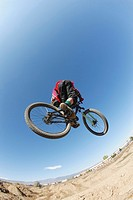 Mountain biker getting big air