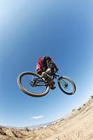 Mountain biker getting big air