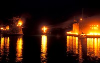 Easter, harbour, lighted torches placed on the fortress Nafpaktos, Central Greece, Greece