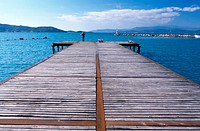 Evia Orei village, wooden dock