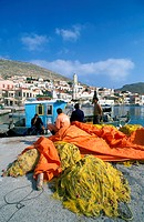 Halki Island of the Dodecanese Chora, fishboat, fishermen, fishing nets