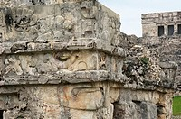 Ancient Mayan ruin in walled city