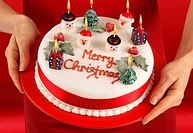 Woman Holding Christmas Cake