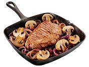 Pan Fried Steak With Mushrooms Cut Out