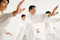 Young men practicing Tai Chi in studio