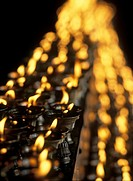 Butter lamps in the Jokhang Temple, Lhasa, Tibet