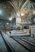 Interior of a church, Baptistry, Siena, Tuscany Region, Italy