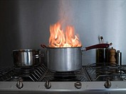 A saucepan on fire