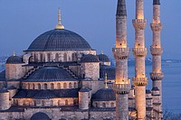 Blue Mosque and Bosphore in background, Istanbul. Turkey