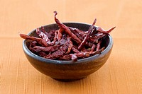 A bowl of dried chilli peppers