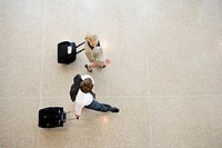 Businesspeople pulling suitcases
