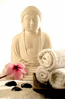 Buddha with viola and hematite