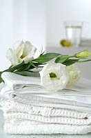 Piqué towels decorated with lisianthus flowers