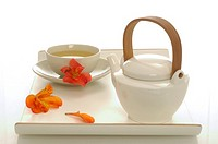 Asian tea service on a tray