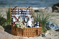 Picnic basket at the sea