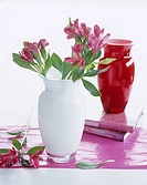 White glass vase with alstroemeria (thumbnail)