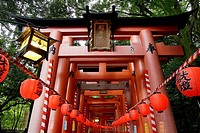 Motomiya-sai festival at Fushimi Inari Taisha shrine. Thousands of lanterns are lit to represent a sea of flame. Kyoto, Japan