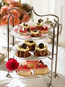 Etagere with tartlets and Petit Fours