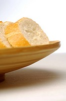 White bread in wooden bowl