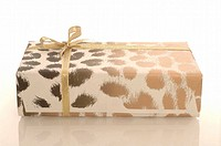Animal print gift with a golden ribbon