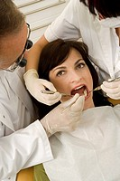 Young woman undergoing dental treatment